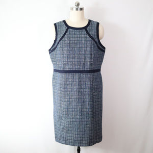 talbots 20 1X navy blue tweed career sheath dress
